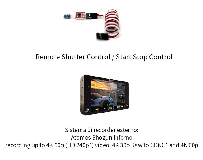 Sistema di recorder esterno: Atomos Shogun Inferno recording up to 4K 60p (HD 240p*) video, 4K 30p Raw to CDNG* and 4K 60p Raw to ProRes / DNxHR Remote Shutter Control / Start Stop Control