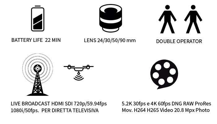 autonomia 20 minuti di volo, ottiche 24 30 50 90 mm doppio operatore live broadcast hdmi sdi