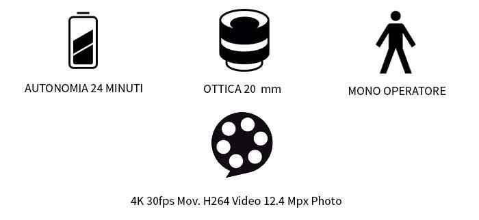 atonomia 22 minuti, ottica 24 mm, mono operatore, 4k 30fps