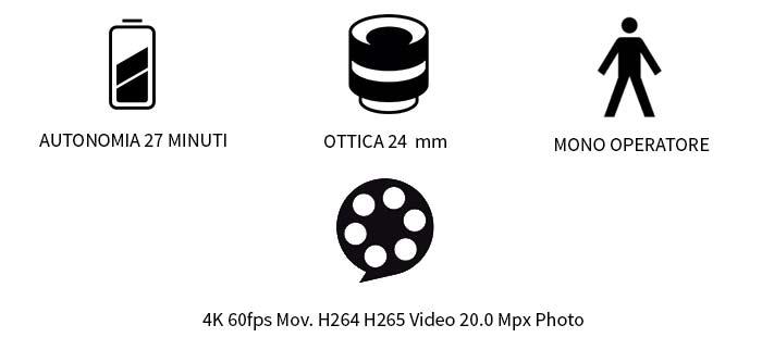 autonomia 27 minuti, ottica 24 mm, 4k, 60 fps