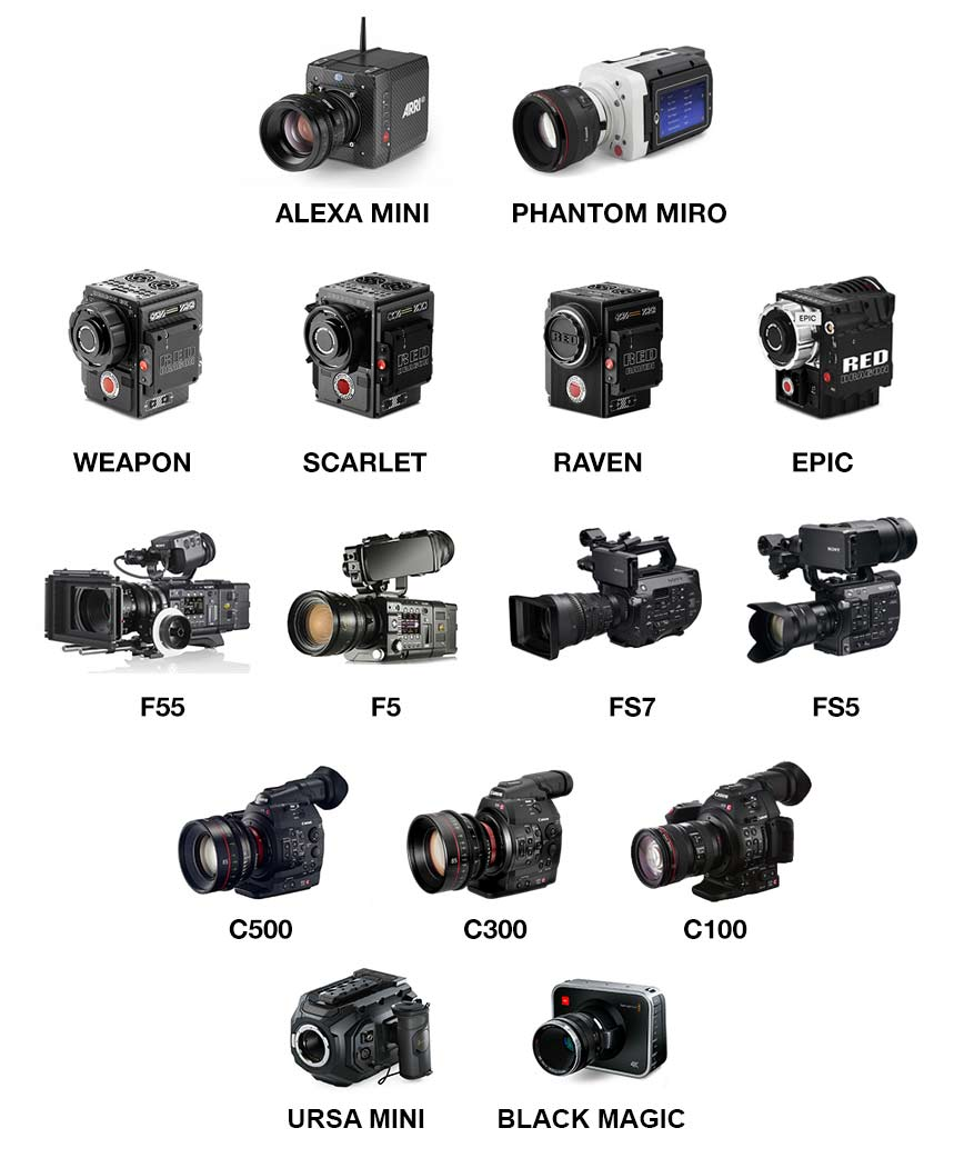 Arri Alexa Mini, Red Helium, Red Weapon, Red Dragon, Red Scarlet, Red Raven, Red Epic, Sony F55, Sony F5, Sony FS7, Sony FS5, Canon C500, Canon C300, Canon C100, Phantom Miro, Phantom Flex, Black Magic 4K Cinema, Black Magic Ursa Mini